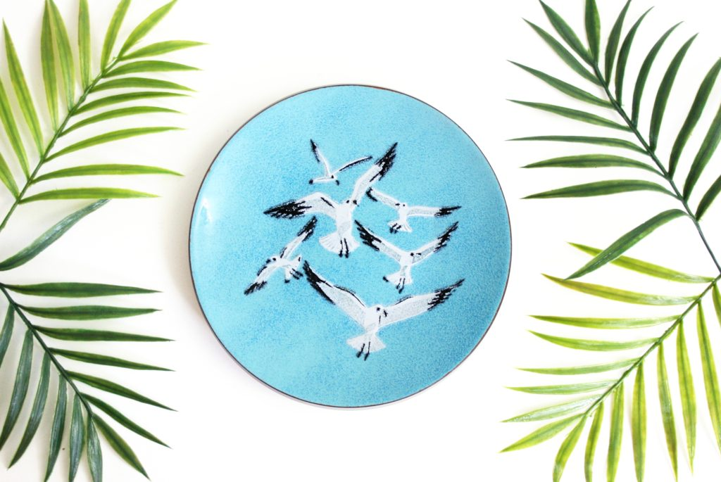 mid century modern enamel seagulls dish from Wise Apple Vintage