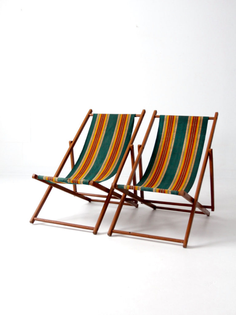 vintage striped deck chairs from 86vintage